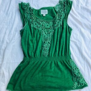 Anthropologie Deletta Kelly Green Embroidered Top